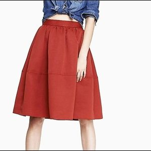 Express Red High Waist Full Midi Skirt, 2